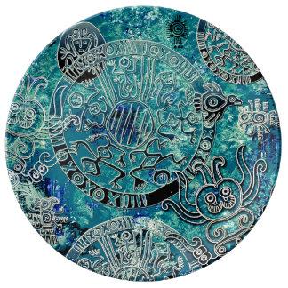 Assiette En Porcelaine Plat décoratif de porcelaine de bleus aztèques