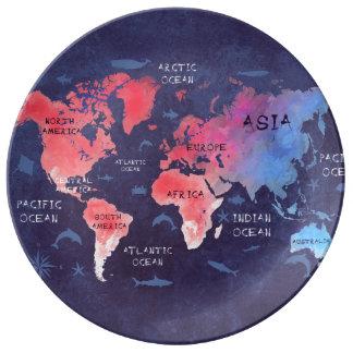 Assiette En Porcelaine plat décoratif de porcelaine de carte du monde