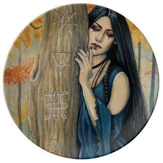 Assiette En Porcelaine Plat décoratif de sorcière gothique d'automne de