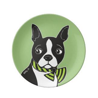 Assiette En Porcelaine Plat décoratif vert de porcelaine de Boston