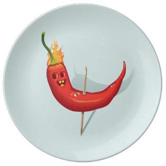 Assiette En Porcelaine Plat frais de poivre de piment