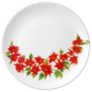 Assiette En Porcelaine Plat rouge coloré vintage de porcelaine de