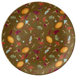 Assiette En Porcelaine Plat sauvage de porcelaine de champignons