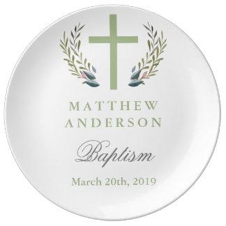Assiette En Porcelaine Plat vert personnalisé de souvenir de baptême