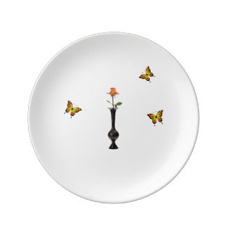 Assiette En Porcelaine Se sont levés et les papillons