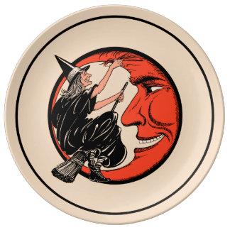 Assiette En Porcelaine sorcière vintage de Halloween des années 1920