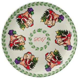 Assiette En Porcelaine Souvenir mignon traditionnel d'éléphant de Noël de