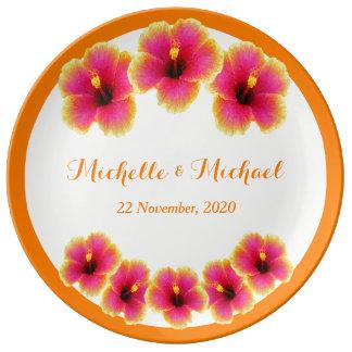 Assiette En Porcelaine Souvenir tropical personnalisé de ketmie (orange)