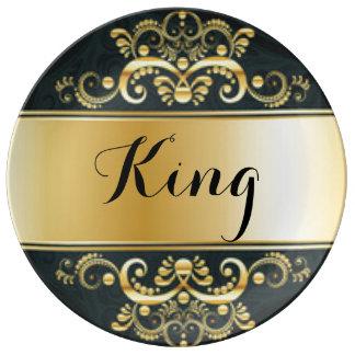 Assiette En Porcelaine Typographie noire d'impression de motif d'or