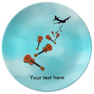 Assiette En Porcelaine Ukulélés de chute d'avion