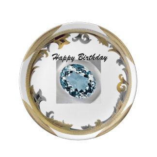 Assiette En Porcelaine Un anniversaire bleu vert