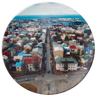 Assiette En Porcelaine Vue aérienne de Reykjavik