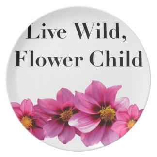 Assiette Enfant de fleur sauvage vivant