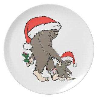Assiette Famille de Bigfoot de Noël