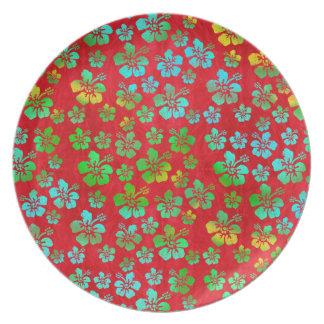 Assiette Fleurs multicolores de ketmie sur le rouge