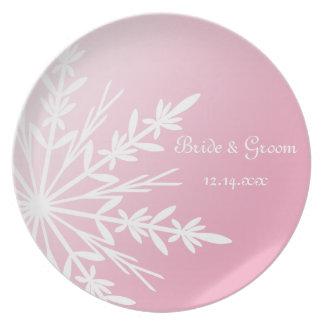 Assiette Flocon de neige blanc sur le souvenir rose de