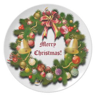 Assiette Guirlande de Noël avec le message fait sur