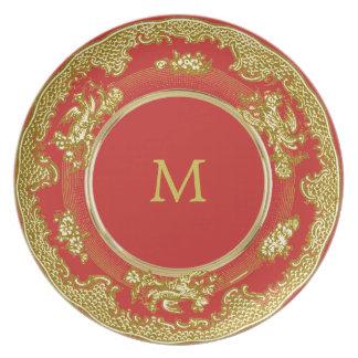 Assiette initiale antique vintage 3 personnalisables de