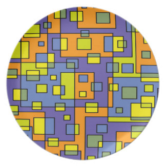 Assiette Jaune d'arrière - plan abstrait et vert bleus