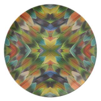 Assiette Kaléidoscope de plume de perruche