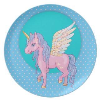 Assiette La licorne mignonne avec l'arc-en-ciel s'envole