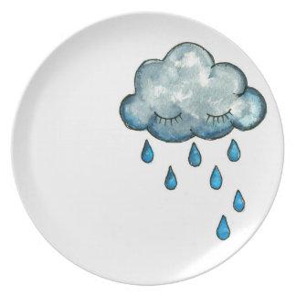 Assiette Le plat des enfants somnolents de nuage