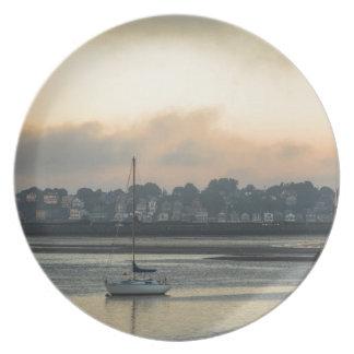 Assiette Lever de soleil et bateaux