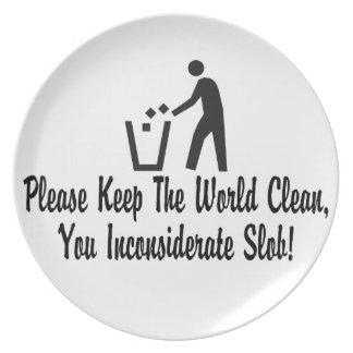 Assiette Maintenez le monde propre vous souillon