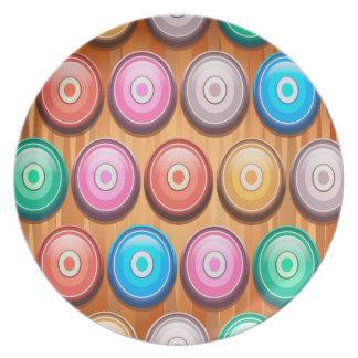 Assiette Motif abstrait coloré de cercles concentriques