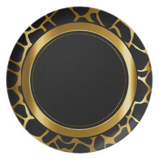 Assiette Motif animal d'or métallique et de girafe noire