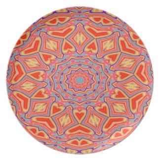 Assiette Motif de mosaïque multi de couleur d'arrière -
