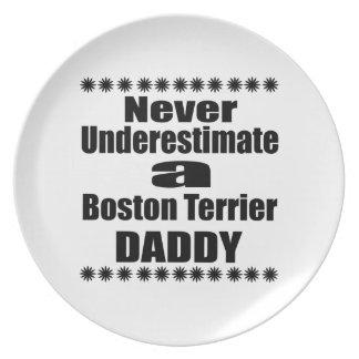 Assiette Ne sous-estimez jamais le papa de Boston Terrier