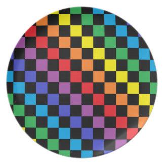 Assiette Noir Checkered d'arc-en-ciel