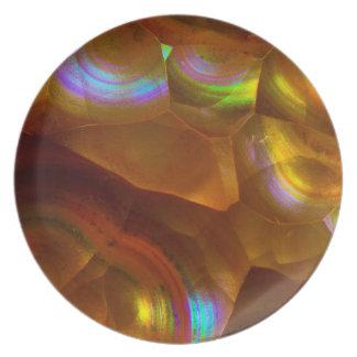 Assiette Opale de feu orange iridescente