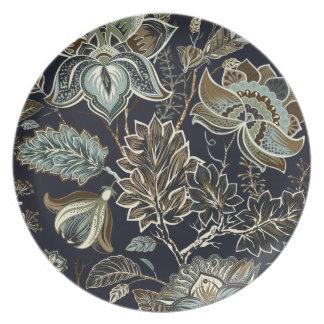 Assiette Paisley antique fleurit le motif noir d'arrière -