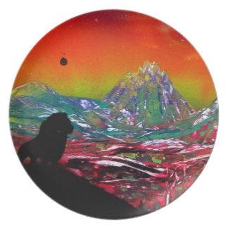 Assiette Peinture d'art de peinture de jet de paysage de