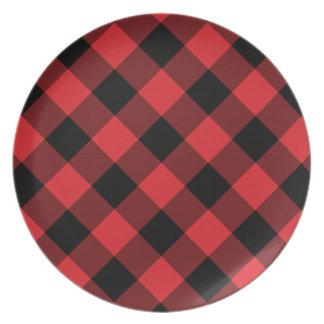 Assiette Plaid confortable plaid de Buffalo rouge et noir