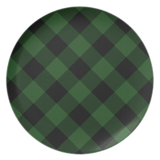 Assiette Plaid confortable plaid de Buffalo vert et noir de