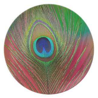 Assiette Plan rapproché de plume de paon