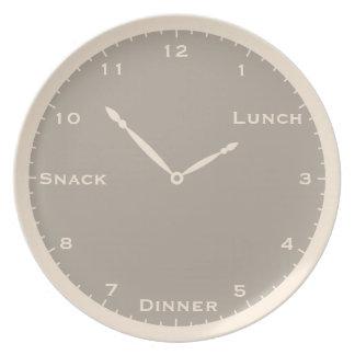 Assiette Plat blanc et gris antique d'horloge