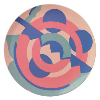 Assiette Plat bleu rose de mélamine d'art déco