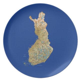 Assiette Plat de carte de la Finlande
