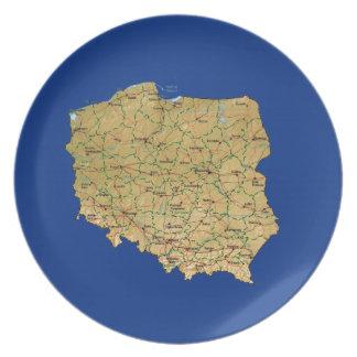 Assiette Plat de carte de la Pologne