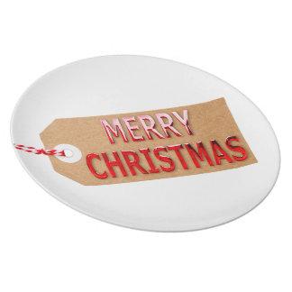 Assiette Plat de dîner d'étiquette de cadeau de Joyeux Noël