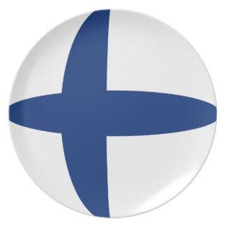 Assiette Plat de drapeau de la Finlande Fisheye