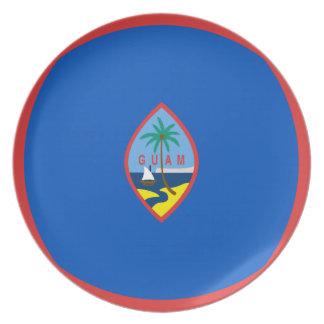 Assiette Plat de drapeau de la Guam Fisheye