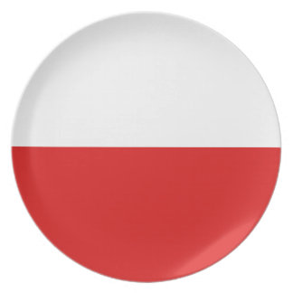 Assiette Plat de drapeau de la Pologne Fisheye