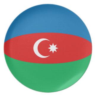 Assiette Plat de drapeau de l'Azerbaïdjan Fisheye