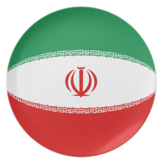 Assiette Plat de drapeau de l'Iran Fisheye