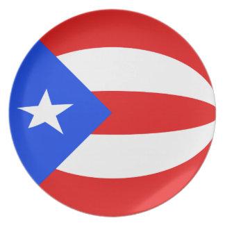 Assiette Plat de drapeau de Porto Rico Fisheye